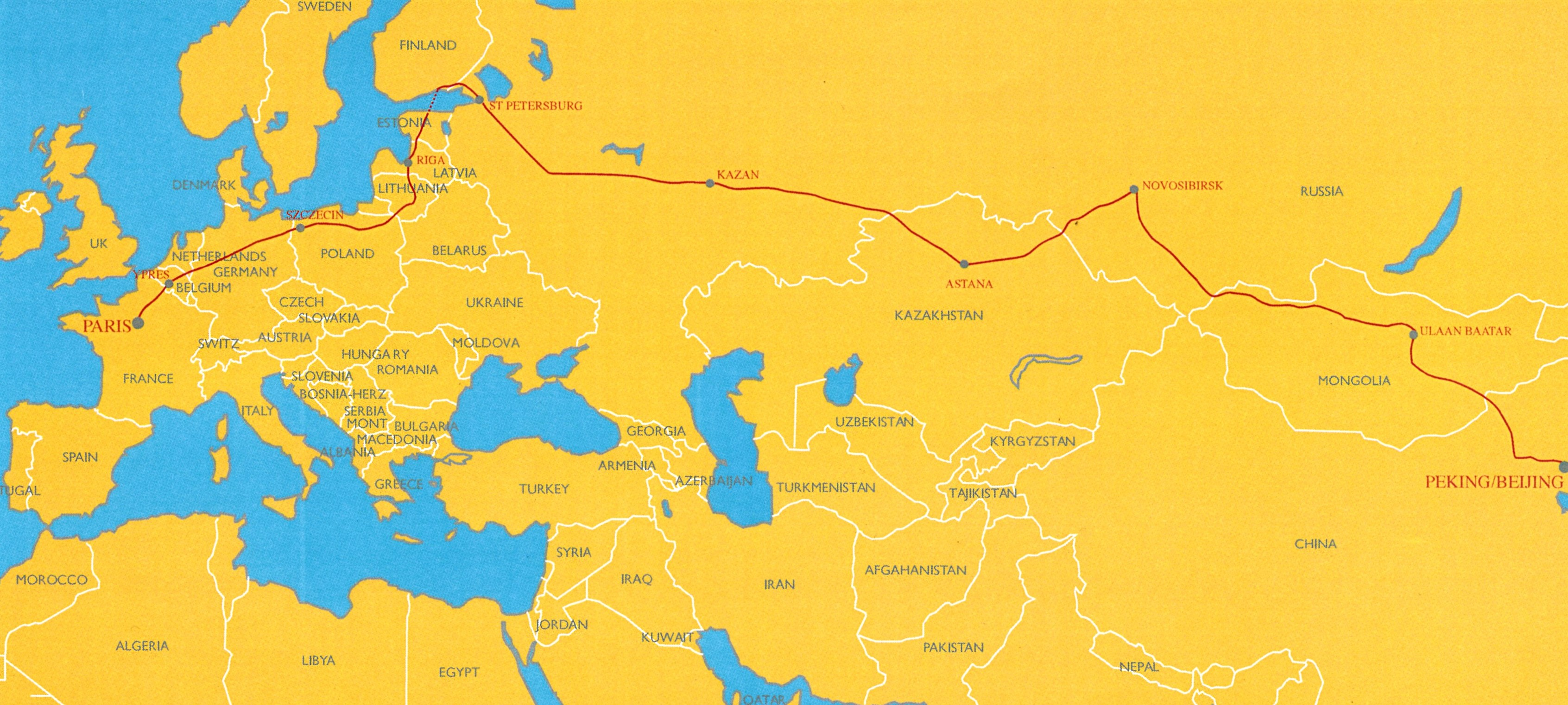 Peking to Paris Route Map